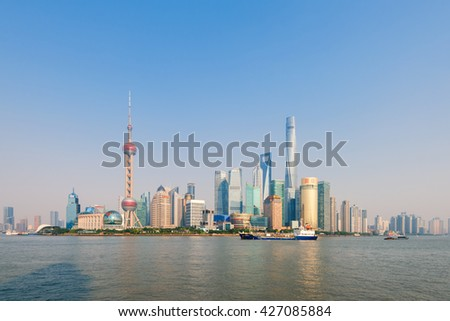 Shanghai, China -  Oct 11,2015: The Huangpu river and the skyline of Pudong business district in Shanghai, China.