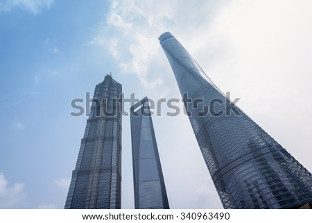 Shanghai, China: October 9, 2015.Shanghai World Financial Centre, Shanghai Tower and Jin Mao Tower at Lujiazui district in Shanghai. Shanghai Tower is newest and the tallest (632m) - stock photo