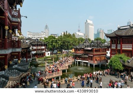 Shanghai, China - October 16, 2015: Traditional Chinese architecture in Yuyuan Garden. Yuyuan Gardens is an extensive Chinese garden located beside the Old City of Shanghai, China. - stock photo