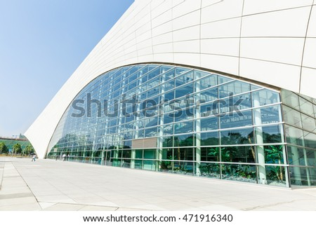 Shanghai,China - on July 22,2016:Shanghai Oriental sports center building scenery,it was mainly used for water sports in a comprehensive sports venues,Shanghai's famous landmarks.