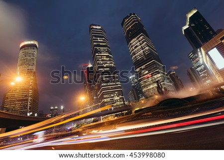 Shanghai, China -Sept 30, 2015: Night view of Lujiazui business district in Shanghai, China. - stock photo
