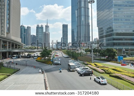 Shanghai, China -Sept. 10, 2015: street in Pudong Lujiazui, Shanghai