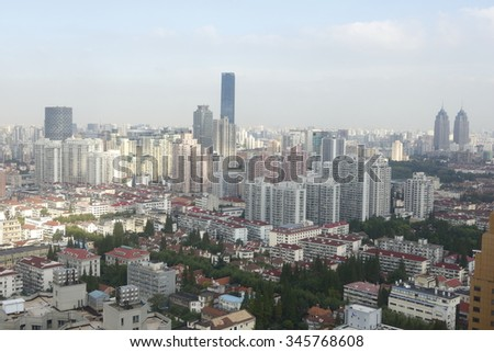 Shanghai,China - September 10, 2015: Aerial view of Shanghai with view on the residential area