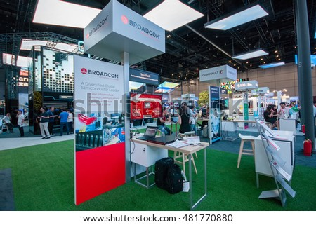 SHANGHAI, CHINA - SEPTEMBER 2, 2016: Booth of Broadcom company at Huawei Connect 2016 information technology conference and exhibition in Shanghai, China on September 2, 2016.