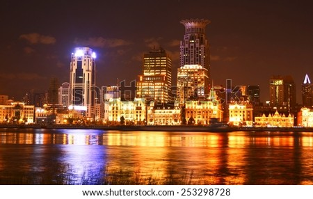 SHANGHAI, CHINA, SEPTEMBER 2, 2013: illuminated skyline of the bund area of shanghai.