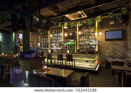 Shanghai,China-September 16,2016: Night view of Shanghai most famous bar area---Hengshan road,part of Shanghai business commercial landmark building collections