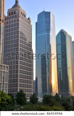 SHANGHAI, CHINA - SEPTEMBER 24: Shanghai Bund city buildings on September 24, 2011 in Shanghai. Shanghai is an emerging business and economy center of China.