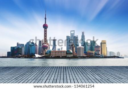 Shanghai, China, the Bund and the Huangpu River. - stock photo
