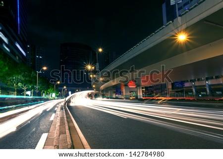 Shanghai city light trails - stock photo