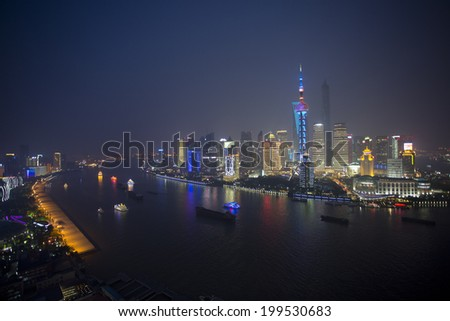 Shanghai city night view of Huangpu river