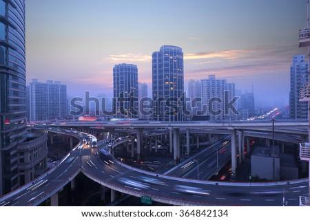 Shanghai city overpass - stock photo