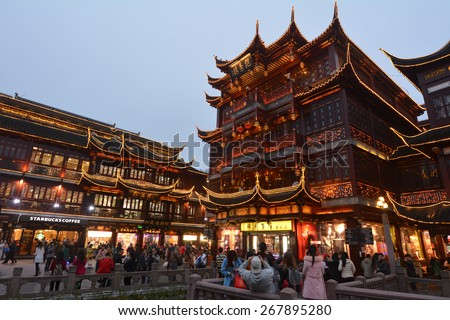 SHANGHAI, CN - MAR 16 2015:Yuyuan Tourist Mart in Shanghai, China.It is an important cultural asset and a traditional sightseeing spot in Shanghai, boasting the most beauty in the southeast. - stock photo