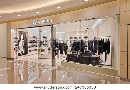 SHANGHAI-DEC. 8, 2014. Calvin Klein outlet. China expect to be the world top luxury-goods market within five years and will be also Calvin Klein's fast-growing market this year, CEO Tom Murry said.  - stock photo