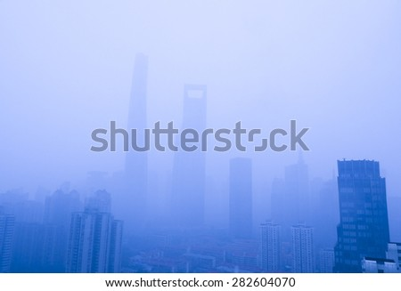 Shanghai in a pollution day,china - stock photo