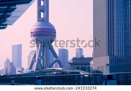 Shanghai landmark-Oriental Pearl Tower - stock photo