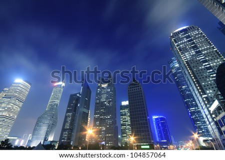 Shanghai Lujiazui Finance and Trade Zone of the modern city night backgrounds