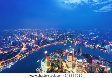shanghai lujiazui financial center aside the huangpu river. - stock photo
