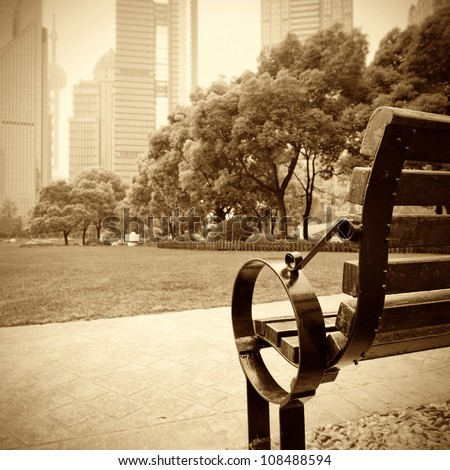 Shanghai Lujiazui financial district, park benches - stock photo