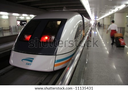 Shanghai Maglev Train - 'bullet train' - 430 km/h - or 280 mph - stock photo
