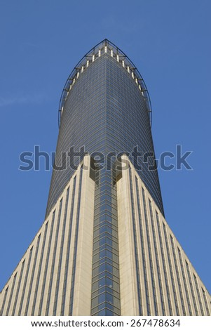 Shanghai - Mar. 10: Building of Financial Center at Lujiazui on Mar. 10 2015.Lujiazui is a national-level development finance and trade zone designated by the Chinese government. - stock photo