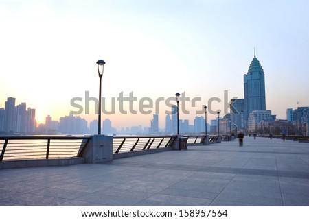 Shanghai morning before sunrise with city skyline - stock photo