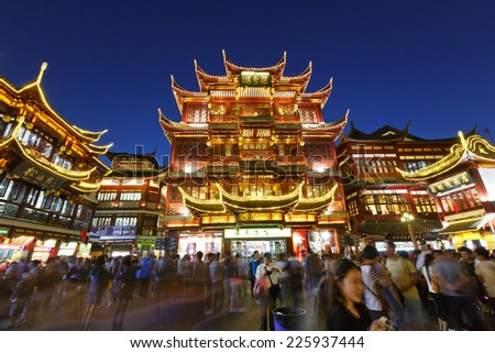 Shanghai - October 3 :shanghai's famous traditional architecture of yuyuan garden at night,on October 3, 2014 in Shanghai, China.Here are the  Shanghai traditional shopping area . - stock photo