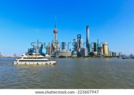 Shanghai - October 4: the beauty of the city, on October 4, 2014 in Shanghai, China. Shanghai is an international metropolis.