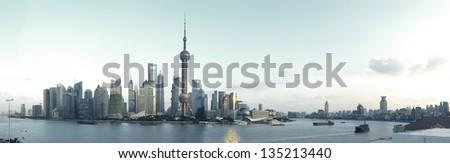 Shanghai panoramic photo skyline - stock photo