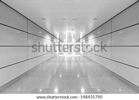 Shanghai Pudong Airport Terminal, modern building interior. - stock photo
