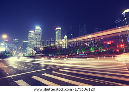Shanghai Pudong buildings, night - stock photo