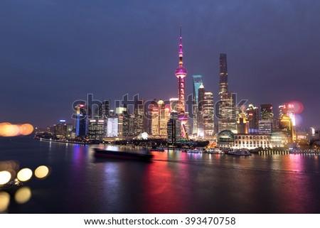 Shanghai pudong lujiazui panorama - stock photo