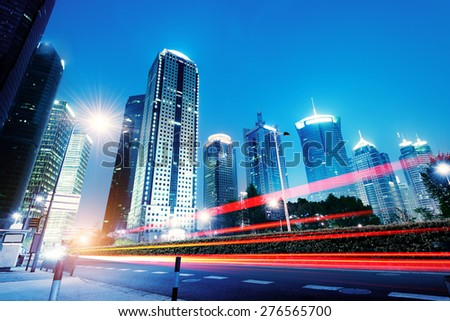 Shanghai Pudong New Area, skyscrapers metropolis, in April 2015. - stock photo