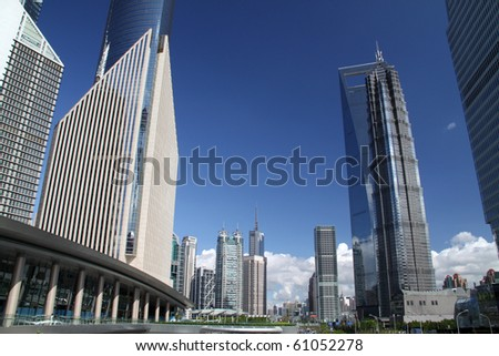 Shanghai Pudong street view - stock photo