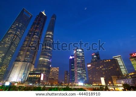 Shanghai Pudong urban skyscrapers at dusk, China - stock photo