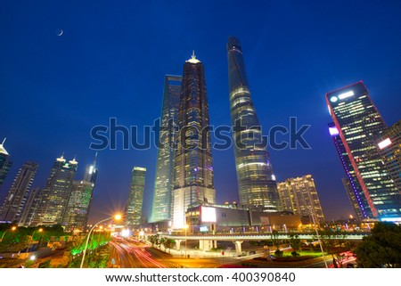Shanghai Pudong urban skyscrapers at night, China
