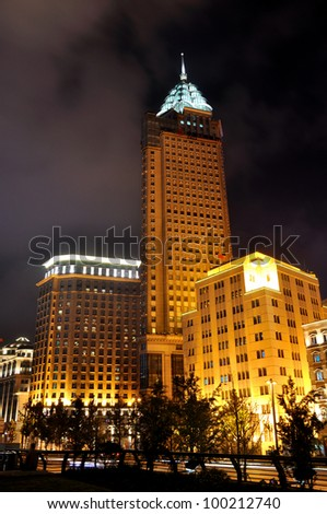 SHANGHAI - SEPTEMBER 25: Shanghai Bund business center night view on September 25, 2011 in Shanghai. Shanghai is a developing economy center and a popular tourism destination in China.