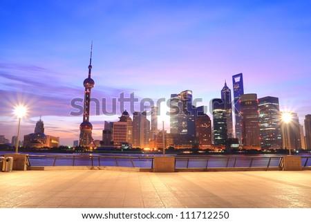 Shanghai Skyline at dawn - stock photo