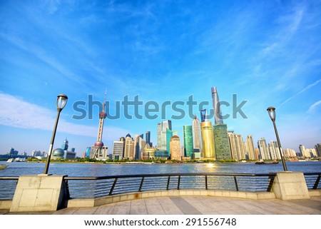 Shanghai skyline from The Bund, China - stock photo
