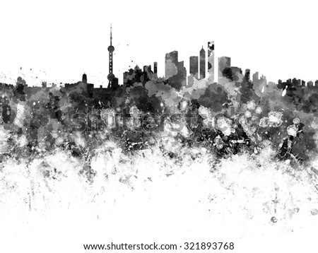 Shanghai skyline in black watercolor - stock photo