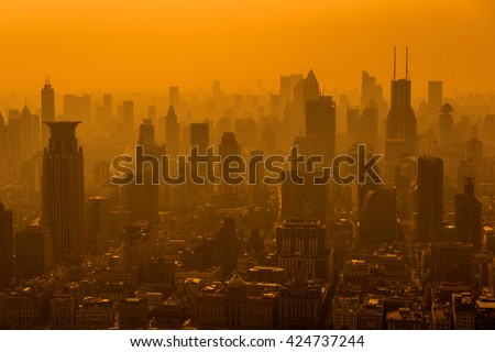 Shanghai skyline in smog. - stock photo