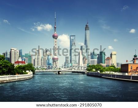 Shanghai skyline in sunny day, China - stock photo