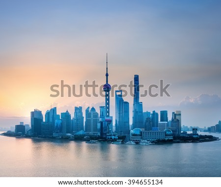 shanghai skyline in sunrise, bird's eye view of lujiazui financial and trade zone