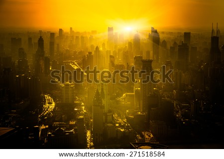 shanghai skyline in sunrise, landscape of city. - stock photo