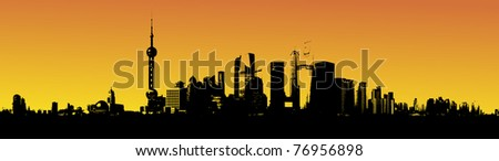 Shanghai skyline in the sunset illustration - stock photo