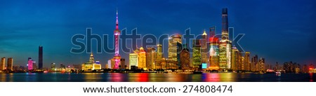 Shanghai skyline panorama at dusk, China - stock photo