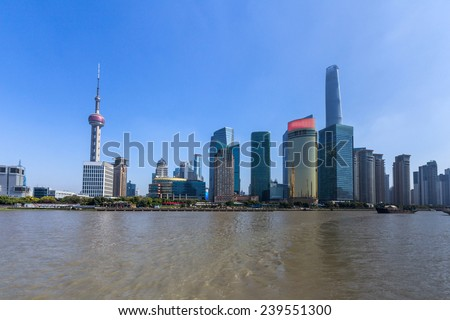 Shanghai Skyline. Shanghai is the largest Chinese city by population and the largest city proper by population in the world. - stock photo