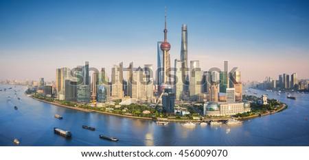 Shanghai skyline with modern urban skyscrapers, China, panoramic view at dusk  - stock photo