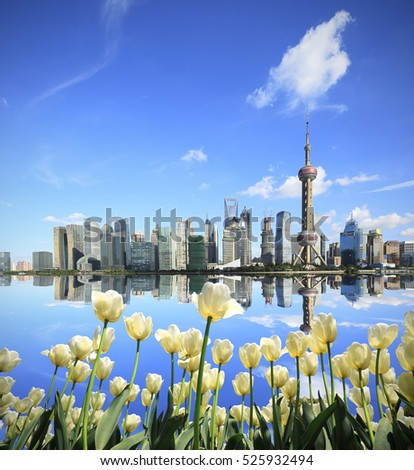 Shanghai skyline with White tulips flowers of the Front of city landmark landscape architecture