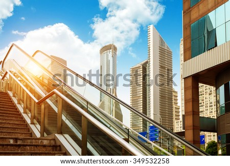 Shanghai streets of stairs and escalators - stock photo