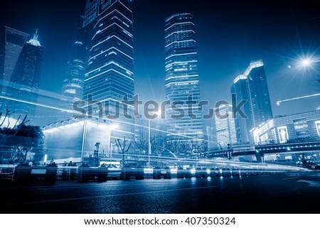shanghai the bund,blue toned image. - stock photo